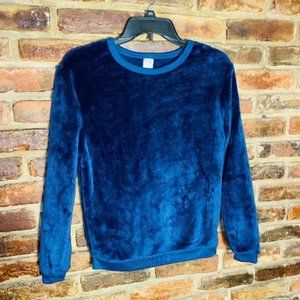 ♦️Cold Crush Fuzzy Faux Fur Blue Sweater Size XS